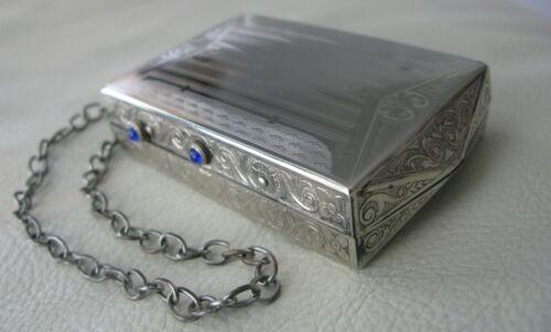 Antique Art Deco Silver T Engraved Floral Blue Jewel Card Case Double Compact