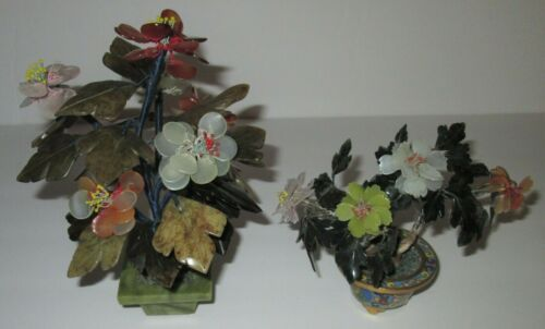 """2 Oriental Chinese Carved Stone Agate Jade Bonsai Flower Tree 8"""" Cloisonne 5"""""""