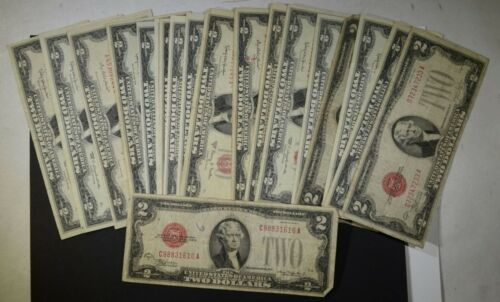 $2 Red Seal Dollars Silver Certificate Old Estate Currency Circulated 1953 1963