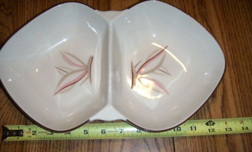 """Winfield China Dragon Flower Divided Serving Bowl 13.25"""" Pink  Floral"""