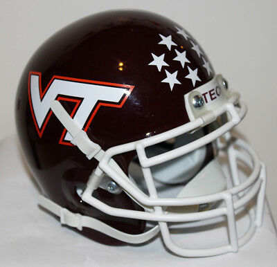 Virginia Tech Hokies Metal - 1983 - 1986 Virginia Tech Hokies Custom Schutt Mini Helmet with Metal Face Mask