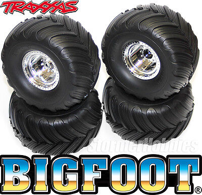 (4) Traxxas 1/10 BIGFOOT Monster Truck mounted wheels and tires for Stampede