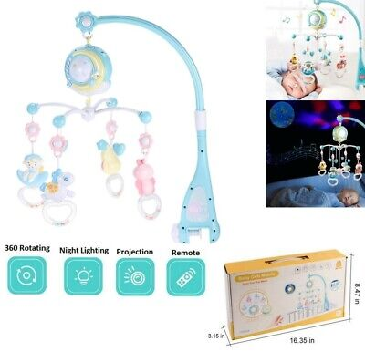 Premium Baby Newborn Cot Bed Car Crib Buggy Mobile Musical Bed Bell Toy Gift -
