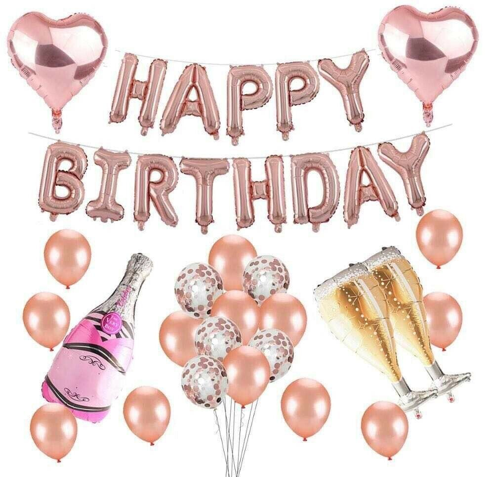 Rose Gold Birthday Party Decorations Set with Happy Birthday