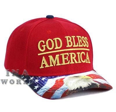 USA American Flag hat GOD BLESS AMERICA Snapback Flag bill Baseball cap- Red