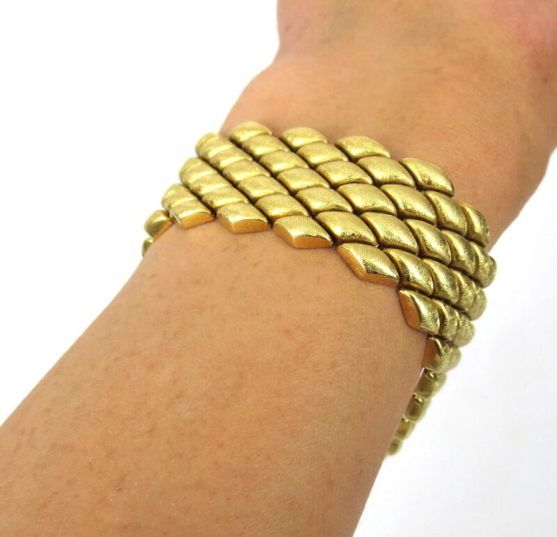1950's Italian Florentine Finish 18k Yellow Gold Geometric Wide Bracelet