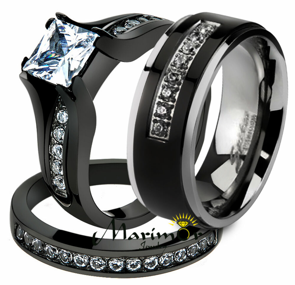 Her & His 3 Pc Black Stainless Steel Engagement Wedding R...