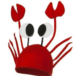 RED CRAB SEA ANIMAL LOBSTER COSTUME HAT ADULT CHILD CAP CRAYFISH FISH NOVELTY