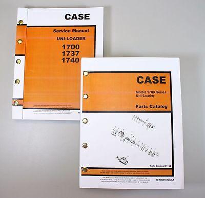 Set Case 1700 1737 1740 Uni-loader Skidsteer Service Repair Shop Parts Manual