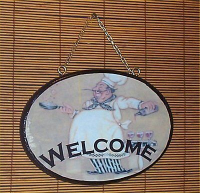 Fat Chef Wood - Fat Chef Oval Welcome Sign Wood Bistro Home Wall Decor Chefs Waiter