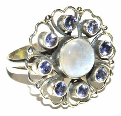 Natural Moonstone, Iolite 925 Sterling Silver Ring Jewelry s.8.5 JB15740 Iolite Moonstone Ring