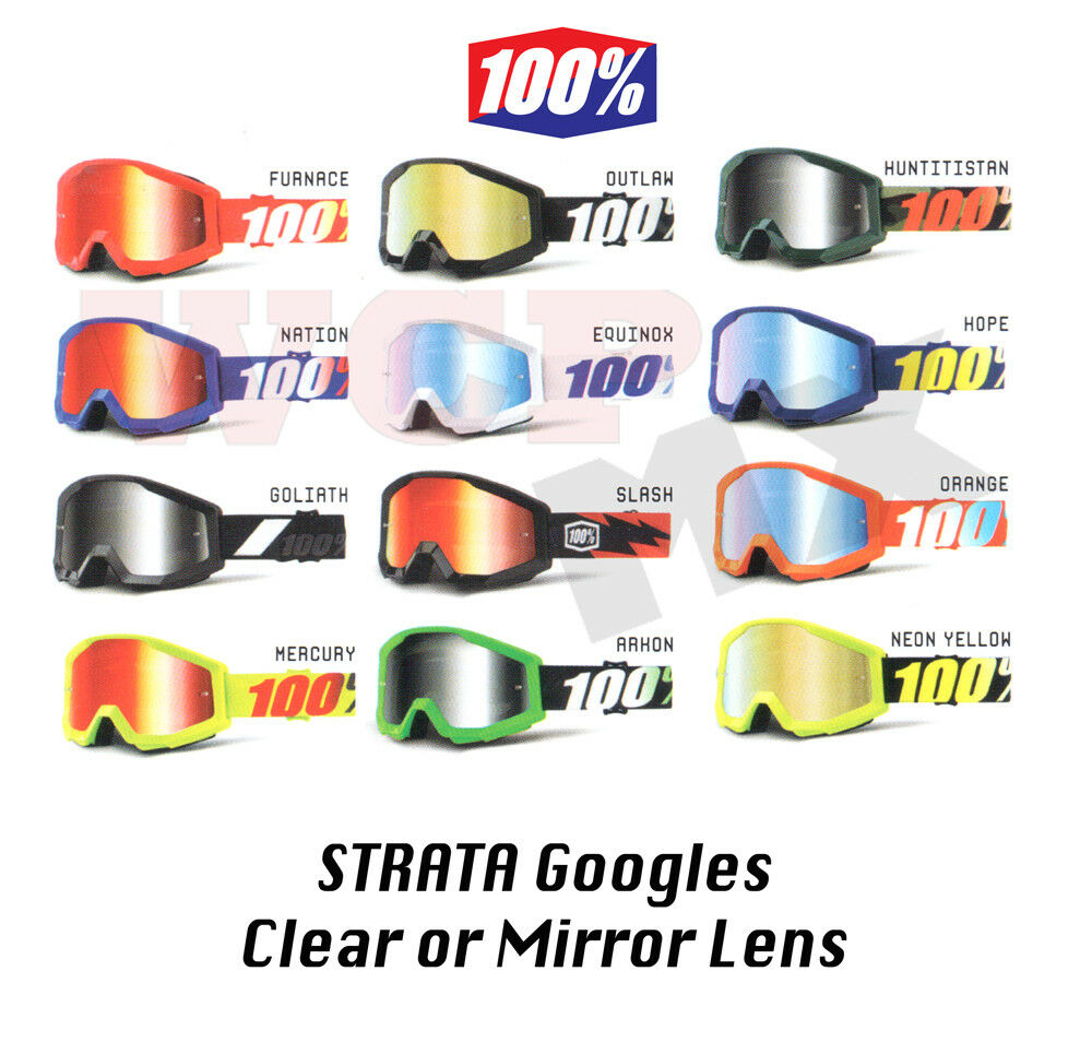 100% STRATA 2019 Goggles - Motocross Offroad MX MTB - Clear or  Mirror Lens