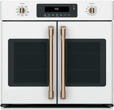 """Cafe 30"""" Matte White Built-In French-Door Single Convection"""