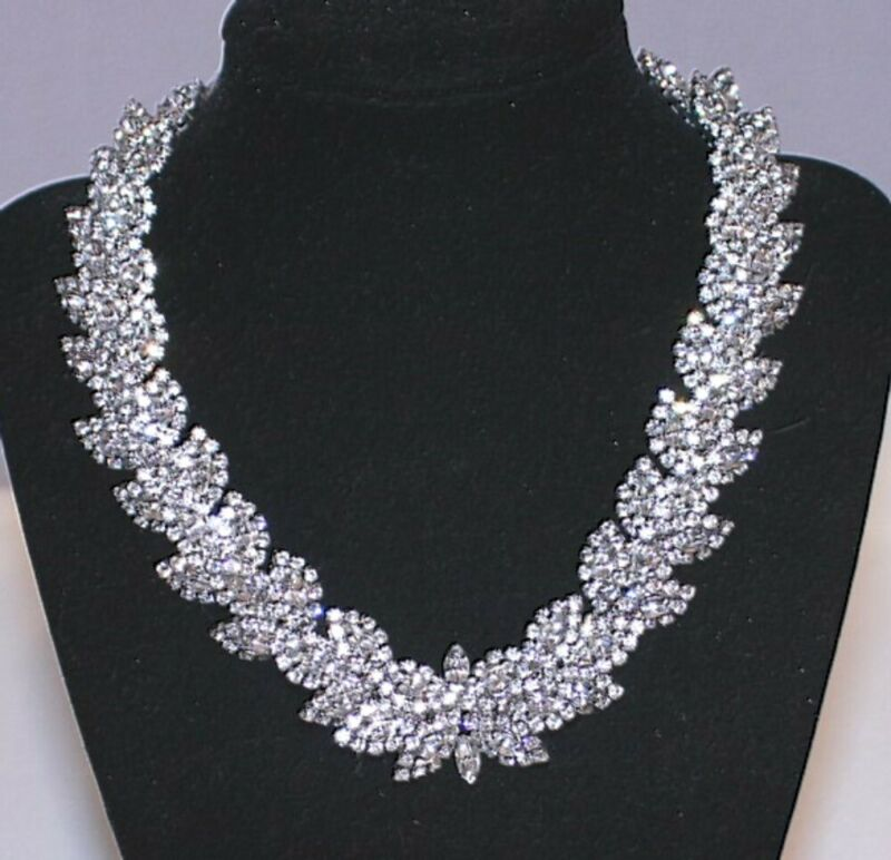 Vintage Statement Rhinestone Collar Necklace HUGE and GORGEOUS!