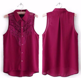 Ladies Burgundy Maroon Chiffon and Lace Sleeveless Collared Shirt Blouse.Size 10.