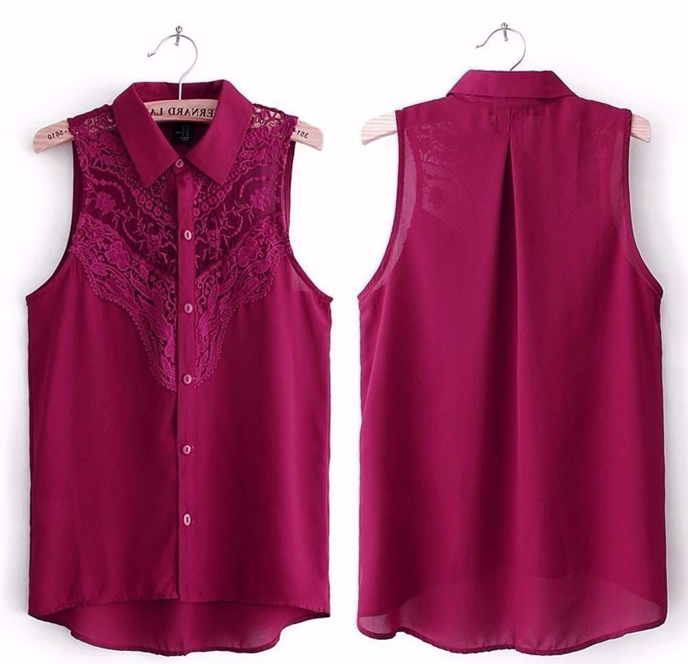Ladies Burgundy Maroon Chiffon and Lace Sleeveless Collared Shirt Blouse.Size 10in Croydon, LondonGumtree - This listing is for a Ladies Burgundy Maroon Lace Sleeveless Shirt Blouse. UK Size 10 (Please check measurements provided to ensure garment will fit) This is a terrific looking blouse that comes in a beautiful burgundy or maroon red colour. Gorgeous...