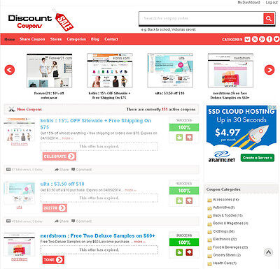 Coupon Website (Professional Discount Coupons Website For Sale - FREE Hosting +)