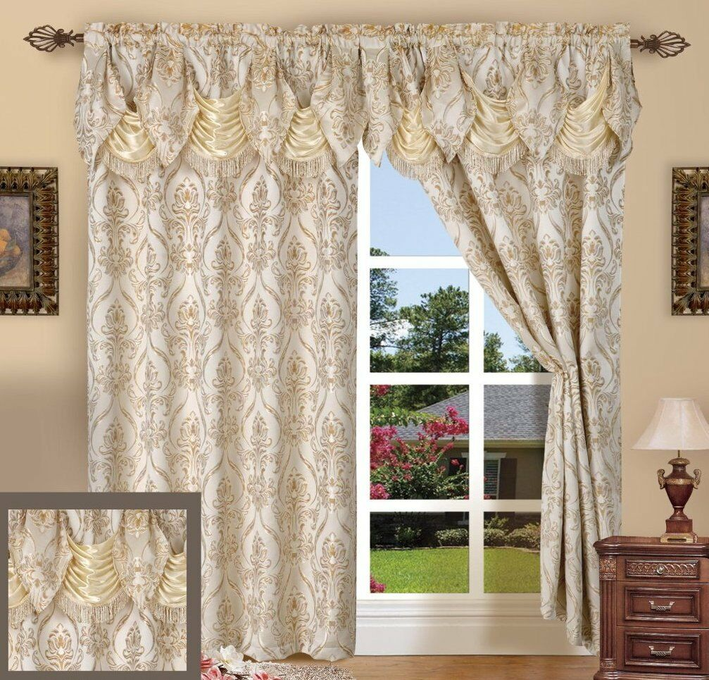 Luxury Set of 2 Penelopie Jacquard Curtains with Attached Austrian Valance