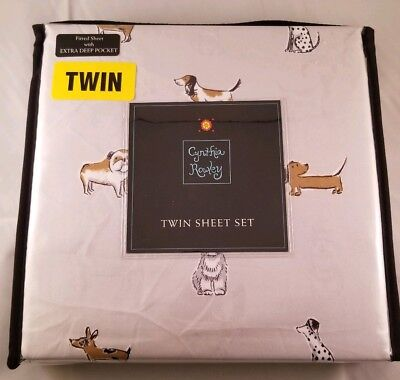 CYNTHIA ROWLEY TWIN Gray Dog Puppy Sheet Set Sheets XDeep 3pc Dachshund Poodle