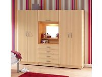* BRAND NEW * FOUR DOOR FITMENT WARDROBE ALREADY ASSEMBLED IN 4 COLOURS ** EXPRESS DELIVERY **