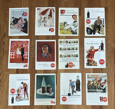 LOT OF 12 VINTAGE COCA COLA COKE MAGAZINE ADS COLLECTIBLE