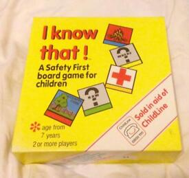 I KNOW THAT! Safety First Board Game for Children. 1988 Edition. Complete VGC.