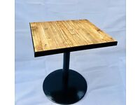 Solid wood and metal tables