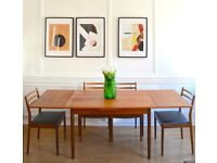 Vintage Danish Midcentury Teak Extending Dining Table and 4 G Plan chairs. Delivery. Modern / Retro.