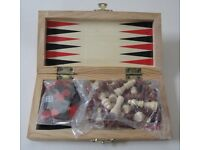 Miniature Wooden Chess Set and Backgammon
