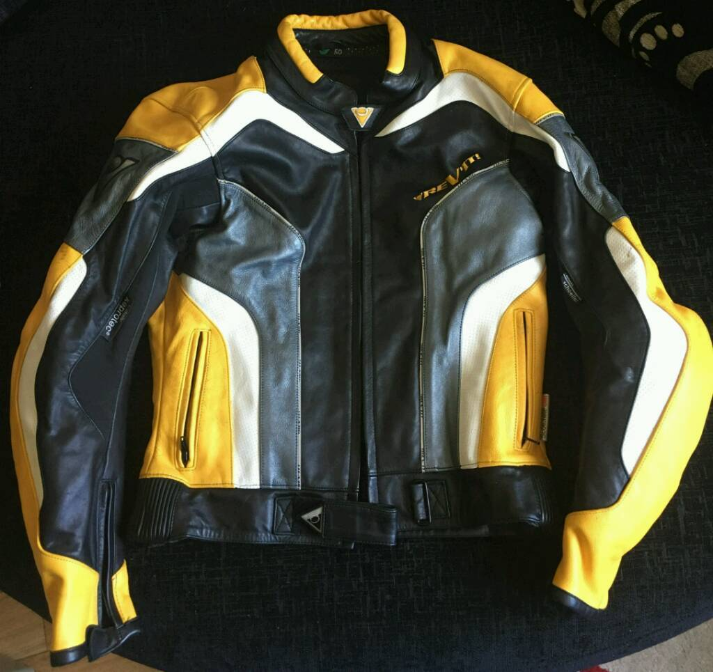 Leather motor bike jacket by REVITin Westbury, WiltshireGumtree - Leather Motor Bike Jacket by REVIT Motor & Bike Wear, with Keprotec (by Schoeller) colour black, yellow grey/silver & white. Made with Very thick Leather,with strong Elbow & Shoulder protection pads Leather , also has foam back protection and insert...