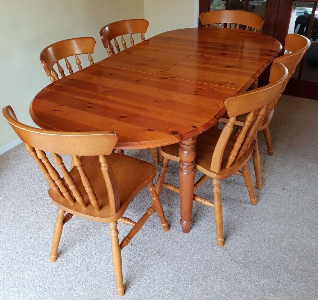 solid pine wood extendable dining room table  chairs vgc
