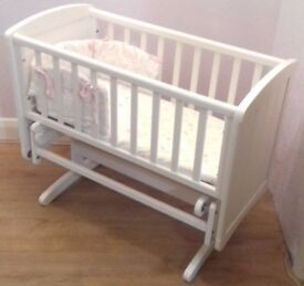 Mothercare Deluxe Gliding Crib (White) and My Little Garden Bedding