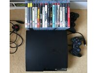 PS3 Slim 120 GB, 2 controllers, 18 games