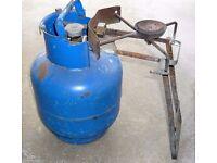 Single Ring Burner for Gas Bottle c/w Empty Gas Bottle
