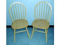 A PAIR OF HOOPED STICK BACK CHAIRS DINING or KITCHEN
