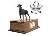 Luxury Solid Wood Mahogany Urn, pet, dog, ashes, memorial, Doberman