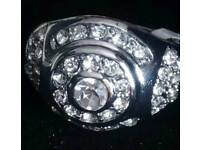 Mens Iced Out White Gold Plated CZ ring