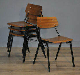 Attractive Set Of 4 Four Vintage Wood & Steel Framed Interlocking Chairs
