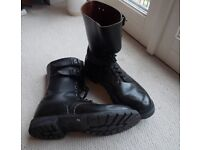 Black Leather Waterproof Motorcycle / French Para / Dispatch Rider High Boots Size UK 13 Euro 49