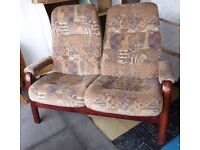 Danish Vintage Two Seater Sofa Recliner upright comfortable