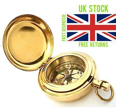 New Stanley London Antique Brass Push Button Pocket Compass WWII Reproduction