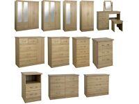 New oak effect 3 drawer bedside £59
