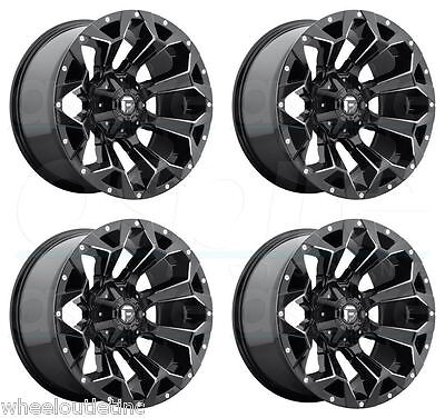18 Fuel Assault Rims Black Offroad Wheels Fit Lifted Jeep Wrangler Patriot D546
