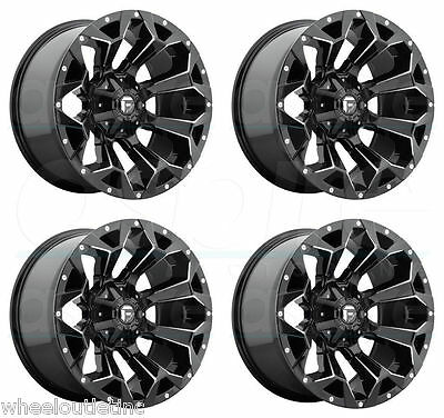 "18 Fuel Assault Rims Black Offroad Wheels 33"" MT Tires Fit Jeep Wrangler D546"