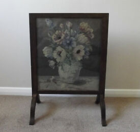 Attractive Antique Glazed Fire Screen with Original Vase of Flowers Tapestry Inlay