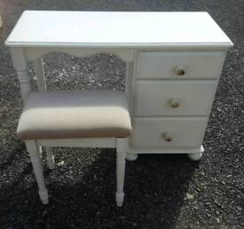 Solid pine painted dressing table and stool
