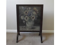Attractive Antique Glazed Fire Screen with Original Vase of Flowers Tapestry Inset