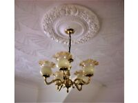 2 sets Light Fittings ( Brass ) with 5 glass shades , good condition, £30 for the two. stockton area