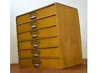 1960s ply six draw cabinet speicmen collectors drawer draw antique vintage haberdashery storage