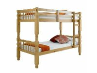 🔵💖🔴EXPRESS SAME DAY DELIVERY🔵💖🔴NEW SINGLE WHITE WOODEN BUNK BED -- WHITE AND PINE COLOURS
